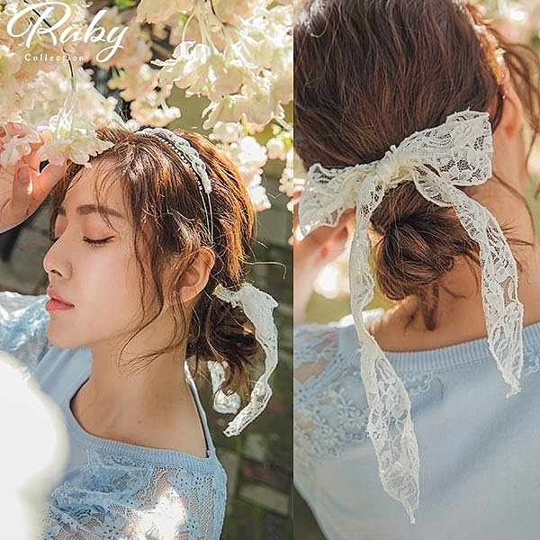 髮飾 韓國直送‧蕾絲綁帶水鑽雙層髮箍-Ruby s 露比午茶