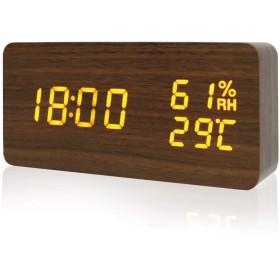 目覚まし時計 Pushingbest めざまし時計 大音量 置き時計 デジタル アラーム 温度湿度 木目調 音声感知 USB給電 乾電池 オシャレ 旅行用(ブラウン)