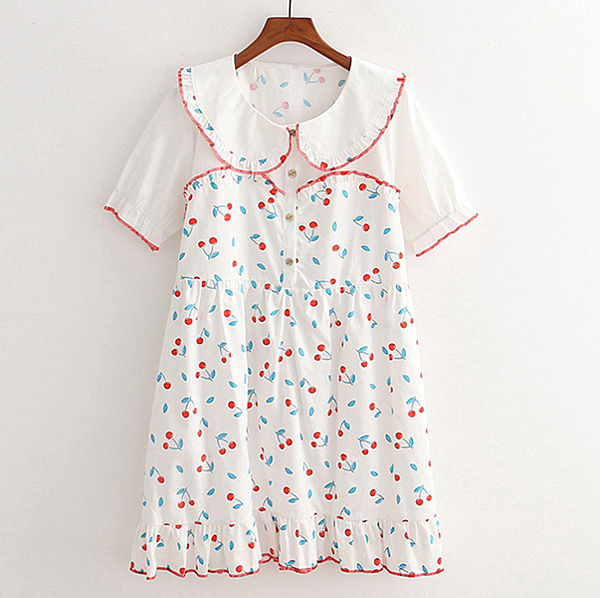 洋裝 小花領櫻桃印花-月兒的綺麗莊園