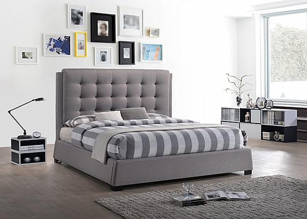 【森可家居】莫札特5尺灰布雙人床 8JF11206 床台 床框 美式古典風 拉扣