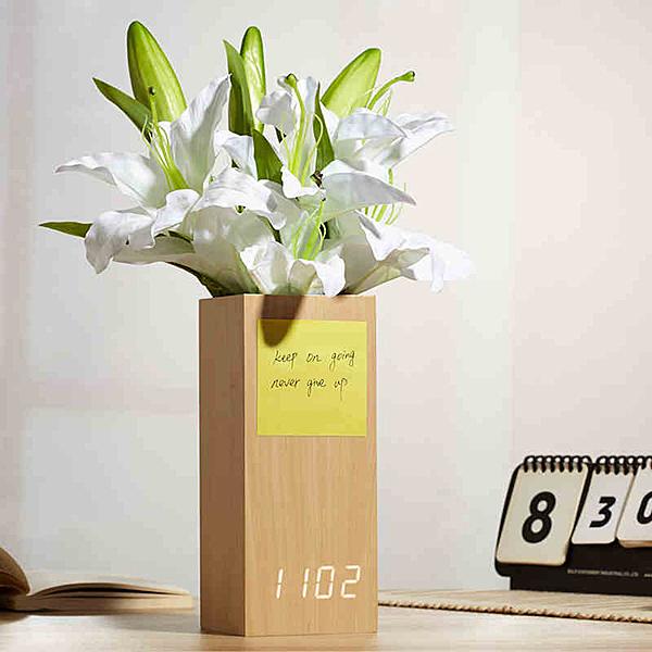 ▼創意 插花LED木頭鐘 時鐘 電子鐘 鬧鐘 聲控 省電 靜音 溫度 木質時鐘 USB供電 數字鐘 木紋時鐘