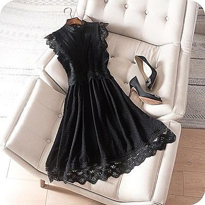 洋裝-無袖優雅鏤空勾花蕾絲連身裙2色73sz37[時尚巴黎]