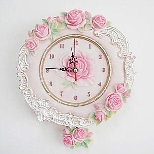 歐式田園複古典雅玫瑰浮雕樹脂掛鐘 家居牆面裝飾靜音掛表-tax002