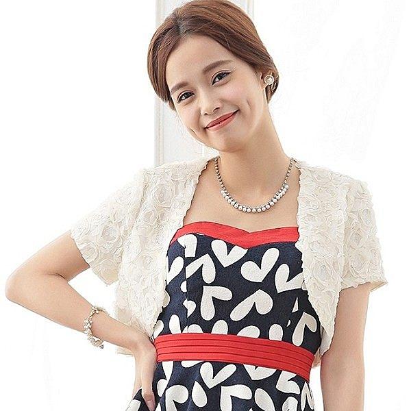 3395-S玫瑰花朵亮片禮服搭配小外套~美之札