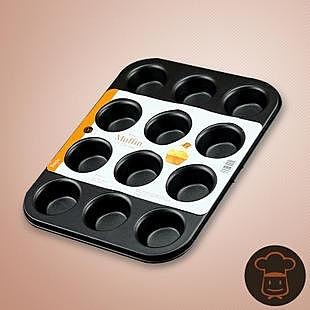 【學廚迷你12連模連杯116260】NO135瑪芬蛋糕模具 家用不粘烤盤烤箱用 烘焙蛋撻模【八八八】e網購