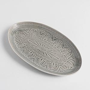 WAGA 歐式 冰裂浮雕35cm陶瓷橢圓盤-瑪瑙灰