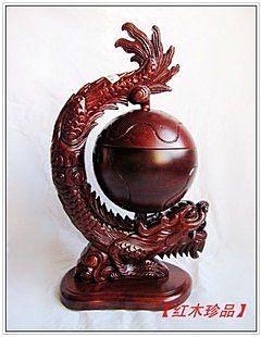 紅花梨木雕刻環形龍香爐擺件