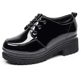[ブウケ] マニッシュパンプス 22.0cm マニッシュシューズ 大人 レディース カジュアルシューズ 楽ちん 太めヒール 美脚 軽い 歩きやすい ハロウィン オックスフォードシューズ ブラック裏起毛 レースアップシューズ ひも靴 レディース靴 パンプス