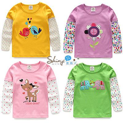【R4515】shiny藍格子-嬰幼館. 女童多款可愛卡通圖案長袖上衣