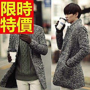 毛呢外套休閒簡約-創意時髦羊毛立領男大衣1色61x3【巴黎精品】