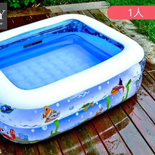 1人嬰幼童加厚充氣海洋方形游泳池