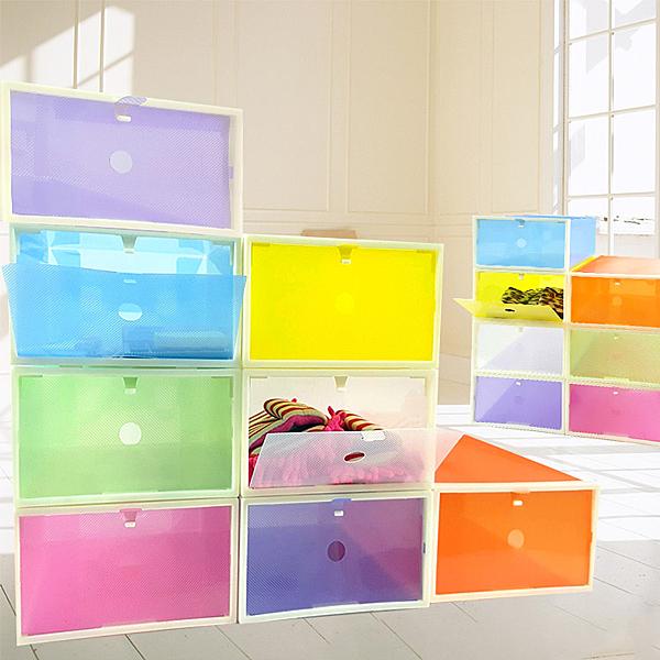 鞋盒 【SPA008】彩色 ABS硬框掀蓋式收納鞋盒-123ok