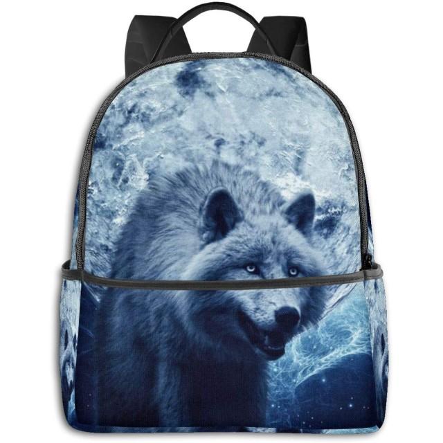 リュック 狼と月夜 バックパック ビジネスバッグ PCリュック 防水 大容量 多機能 軽量 遠足 旅行 アウトドア 大学生 中学生 おしゃれ 15.6インチ