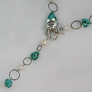 項鏈長款女復古綠松石珍珠裝飾掛件