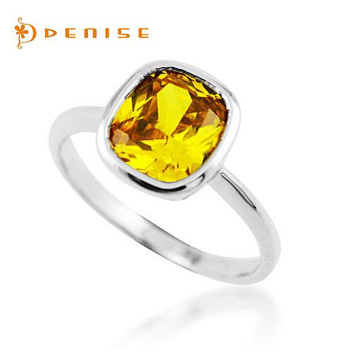 戒指 925純銀鍍白金「焦點」黃晶鑽 / 銀飾珠寶
