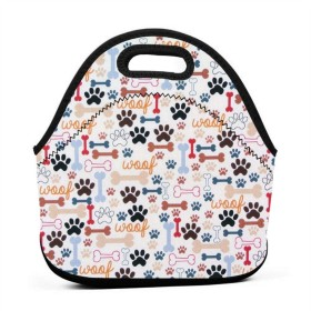 犬の骨と足のランチバッグ、厚手の断熱ランチボックスバッグ、子供の旅行ピクニックオフィス用のジッパークロージャー付きトートボックス