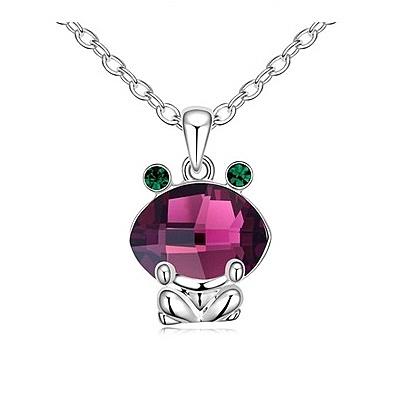 水晶項鍊+925純銀吊墜-可愛青蛙生日情人節禮物女飾品4色73bb128【時尚巴黎】