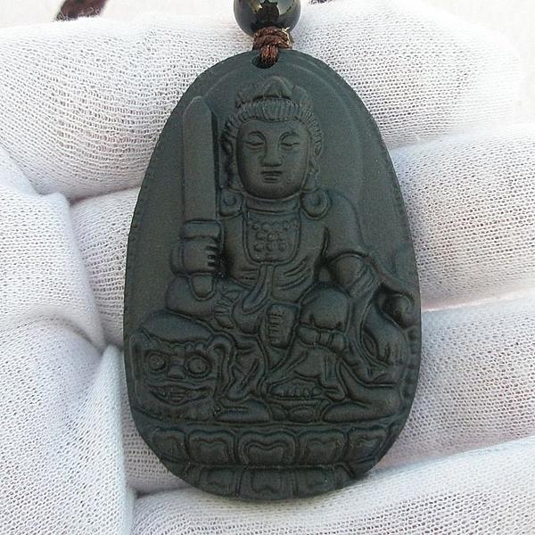 【歡喜心珠寶】【文殊菩薩法像墜子】天然原礦天鐵雕「附保証書」生肖兔年生之人守護神