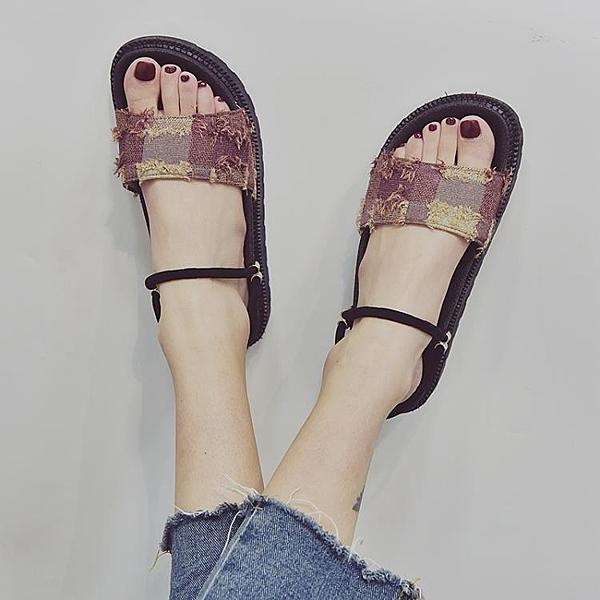 2019夏季新款涼鞋女中跟沙灘鞋韓國拖鞋百搭厚底鬆糕涼鞋 萬客居