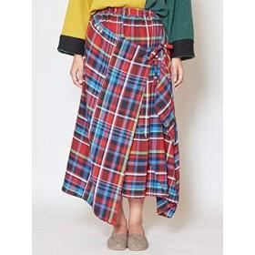 [チャイハネ] 【チャイハネ】チェック柄変形スカート IAC-9321 FREE レッド