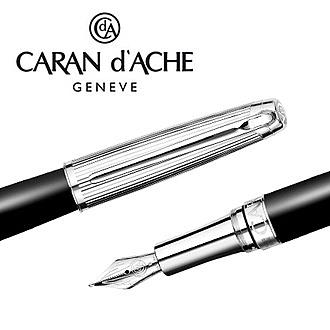 CARAN d'ACHE 瑞士卡達 LEMAN 利曼霧黑漆鋼筆(銀蓋)-BB / 支