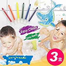 【樂兒學】超值3盒可擦拭水性環保6色浴室蠟筆-台灣製造【ML0142】(SL0006)