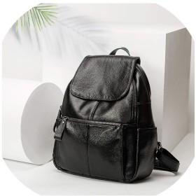 ティーンエイジャーの女の子女性の旅行バッグバックパック、ブラックレザーの女性のバックパックスクールバッグ