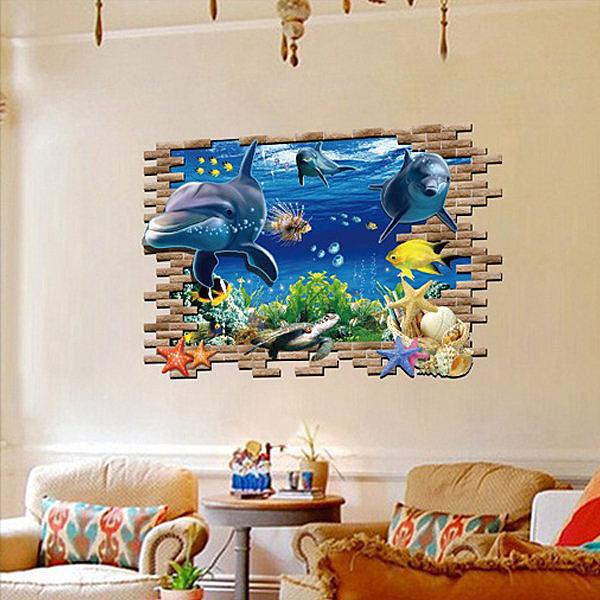 BO雜貨【YV0568】DIY可重複貼 時尚壁貼 牆貼壁紙 創意璧貼 超大3D立體窗景 穿牆海底 海豚 海星 AY970