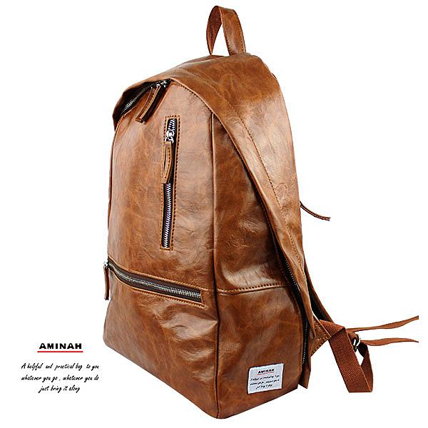 棕色雙鍊皮革後背包  AMINAH~【am-0296】