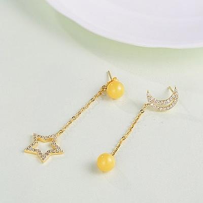 琥珀耳環 925純銀-星星月亮情人節生日禮物女飾品73gb20【時尚巴黎】