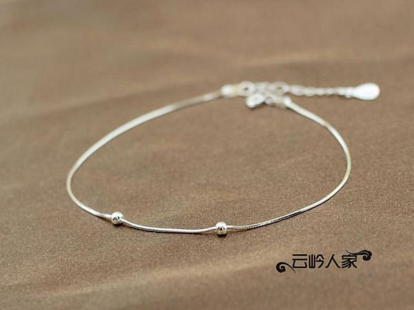 銀飾 女款飾品 時尚 夏日 女 圓珠蛇骨銀腳鏈