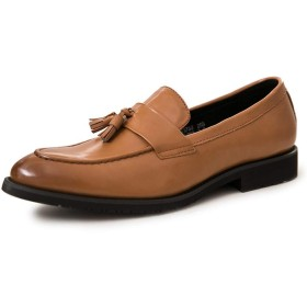[Jusheng-shoes] メンズシューズ マイクロファイバーレザーポインテッドトゥロートップアンチスリップソリッドカラーの男性手作りタッセルローファースリップのためのファッションクラシックドレスオックスフォード カジュアルシューズ (Color : 黄, サイズ : 24 CM)