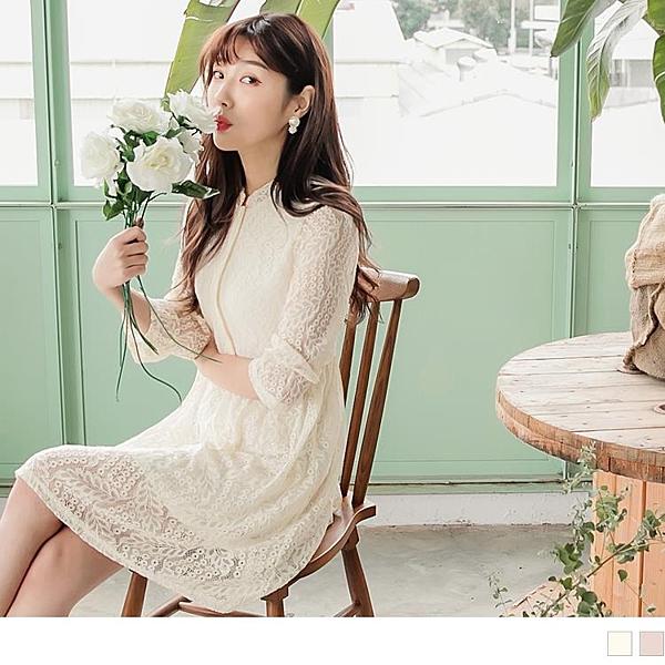《DA6315-》排釦開襟純色蕾絲雕花傘襬洋裝 OB嚴選