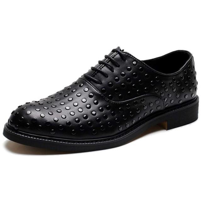 [Jusheng-shoes] メンズシューズ 男性ファッションドレスシューズのためのオックスフォードは、マイクロファイバーレザーラバーソールラウンドトゥ滑り止めリベットスタッズブロックヒールレースアップ カジュアルシューズ (Color : ブラック, サイズ : 24.5 CM)