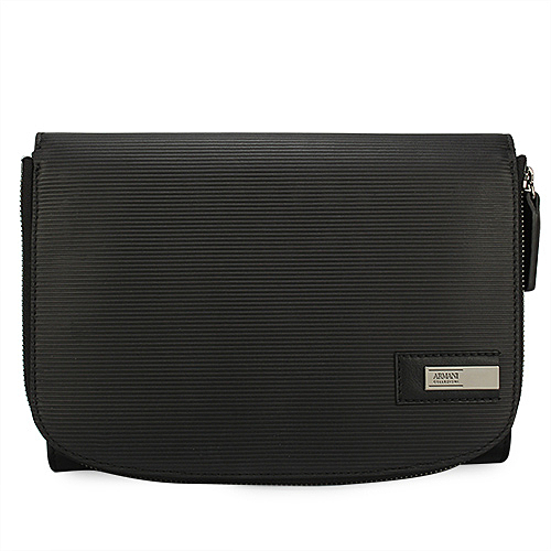 ARMANI COLLEZIONI 經典橫紋牛革掀蓋式多功能手拿包/手提包(黑色)102309