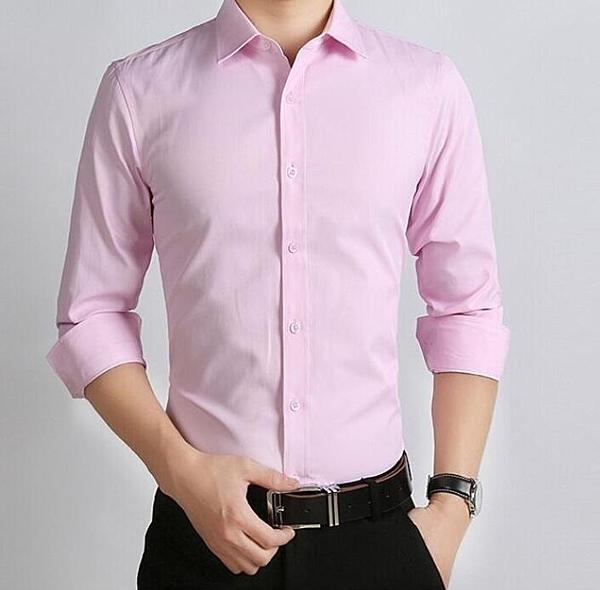 夏季白襯衫男長袖結婚新郎寸衫粉色伴郎婚禮半袖衣服紅色短袖襯衣   圖拉斯3C百貨