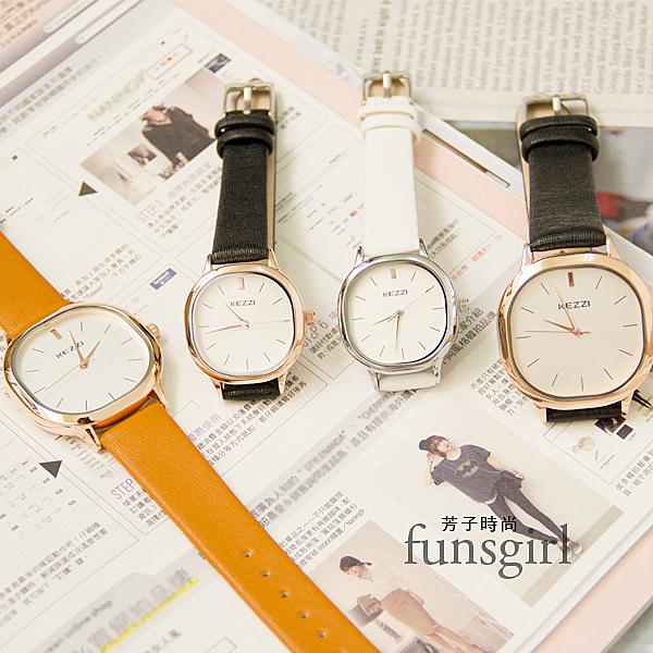 方形大小款對錶皮質腕錶手錶-3色~Funsgirl芳子時尚