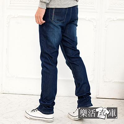 【7246】加厚刷毛剪接刷色伸縮小直筒牛仔褲● 樂活衣庫