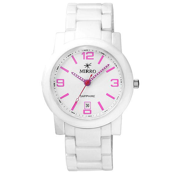 MIRRO 典藏愛戀時尚都會陶瓷腕錶(白粉紅)