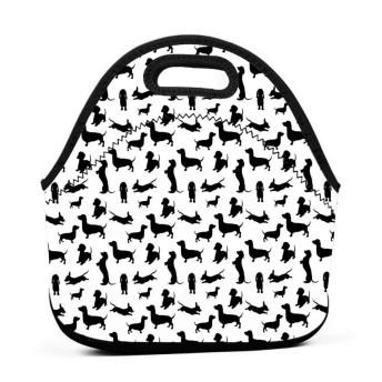 犬愛好家の黒と白のランチバッグ、厚手の断熱ランチボックスバッグ、子供旅行ピクニックオフィスのジッパー閉鎖付きトートボックス