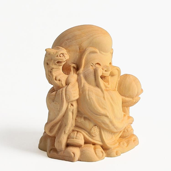 [超豐國際]紅木佛像工藝品小號Q版壽星擺件 黃楊木雕刻彌勒佛1入