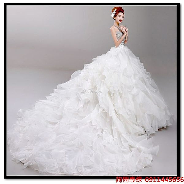 (45 Design) 訂做款式7天到貨   新娘結婚敬酒服長款晚宴年會婚紗禮服晚裝 訂製款 大尺碼