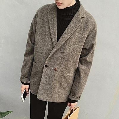 風衣外套-時尚純色簡約毛呢中長版翻領男大衣2色73ip72【時尚巴黎】