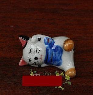 廚房餐飲用具裝飾品/陶瓷百搭小動物/可愛小貓筷子架