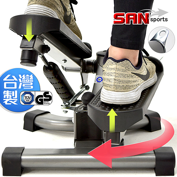台灣製可變式搖擺踏步機雙效2in1扭腰有氧滑步機划步機運動健身器材推薦哪裡買ptt【山司伯特】