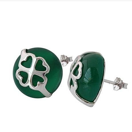 新品銀綠瑪瑙耳釘