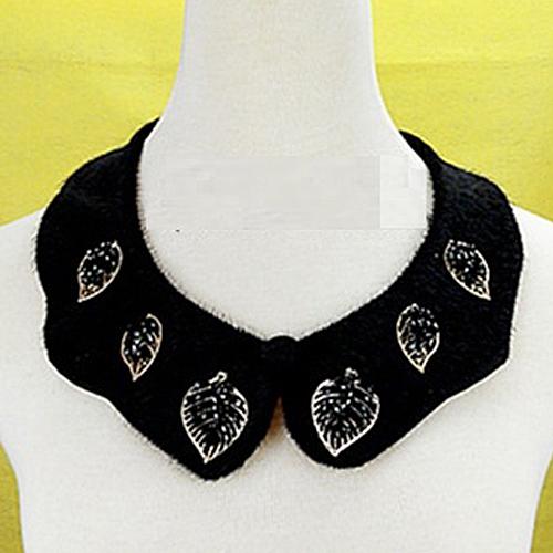 IB-001奢華貴氣毛毛領花朵葉片造型綴飾~假領子項鍊飾品~美之札
