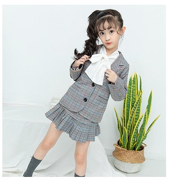 衣童趣♥韓版 中大女童必備 氣質甜美款 學院風西裝外套+格子裙 兩件套裝組