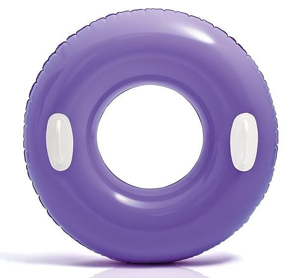 [衣林時尚] INTEX 30吋(76cm)把手甜甜圈游泳圈 (紫) 59258