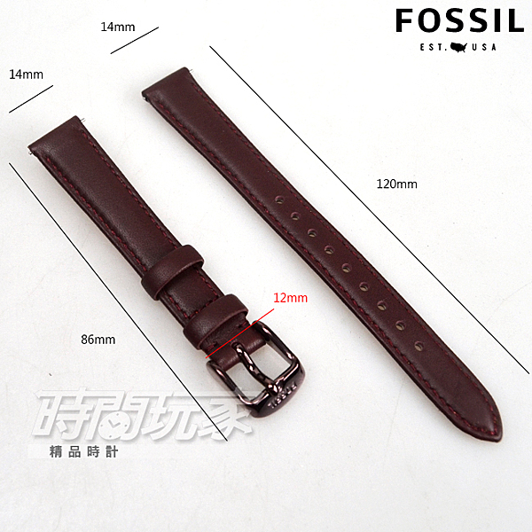 14mm錶帶 FOSSIL 真皮錶帶 咖啡色 B14-ES4099